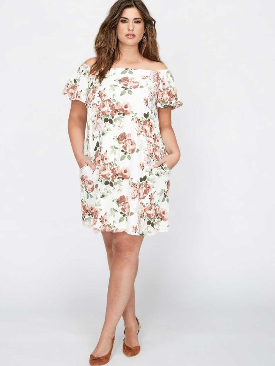 Bardot Floral Flutter Sleeve Dress