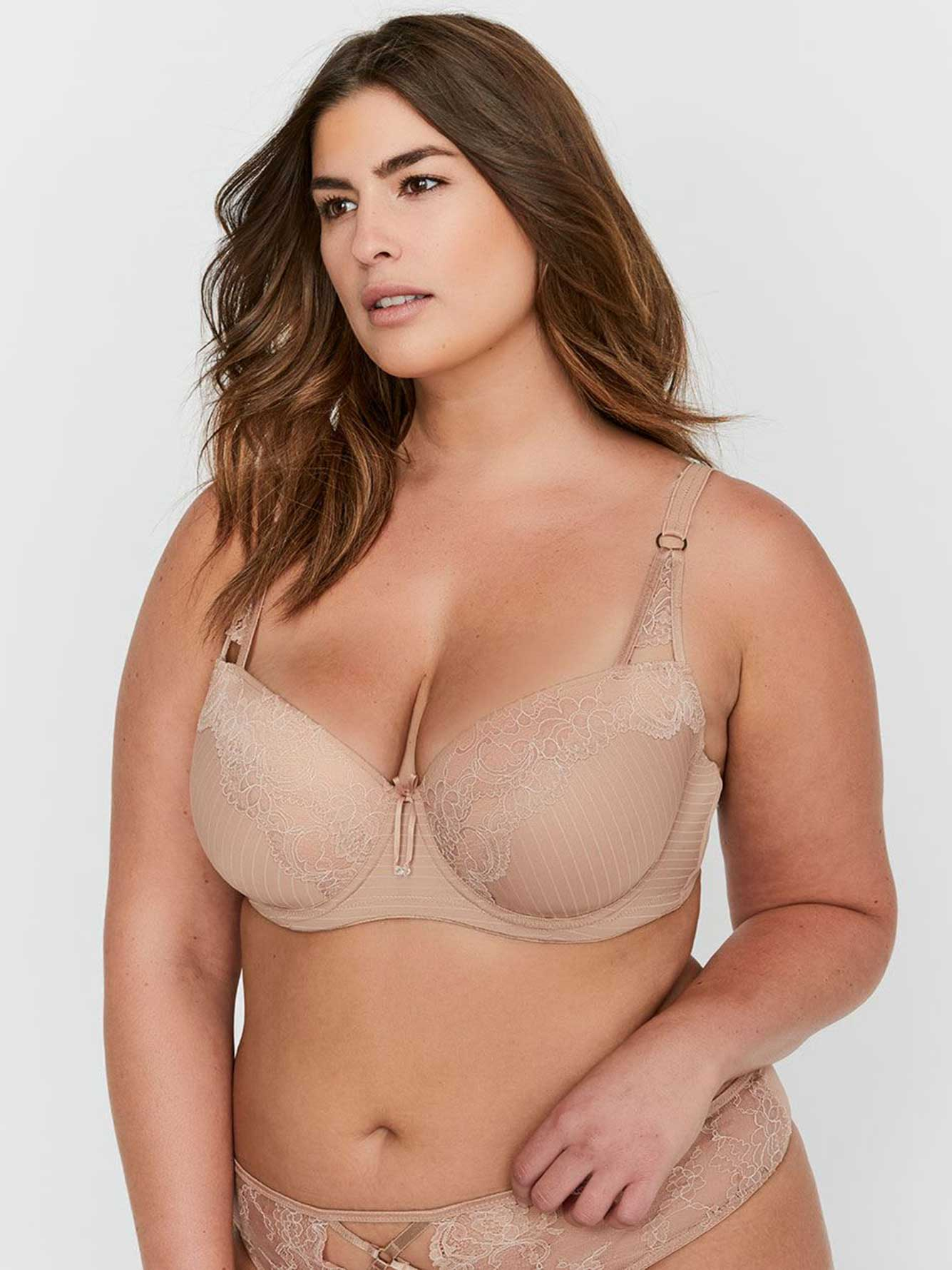 Ashley Graham Lace and Striped Showstopper Bra