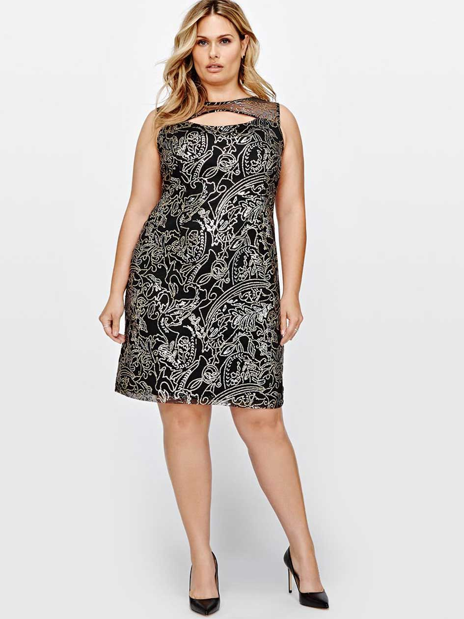 Sleeveless Shift Dress With Sequins