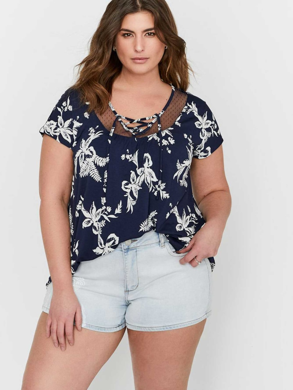 Michel Studio Printed Lace-Up Top