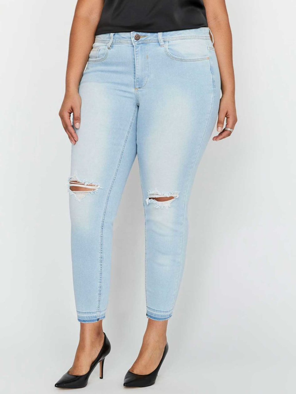 L&L Authentic Skinny Petite Denim with Bleach, Rips & Released Hem