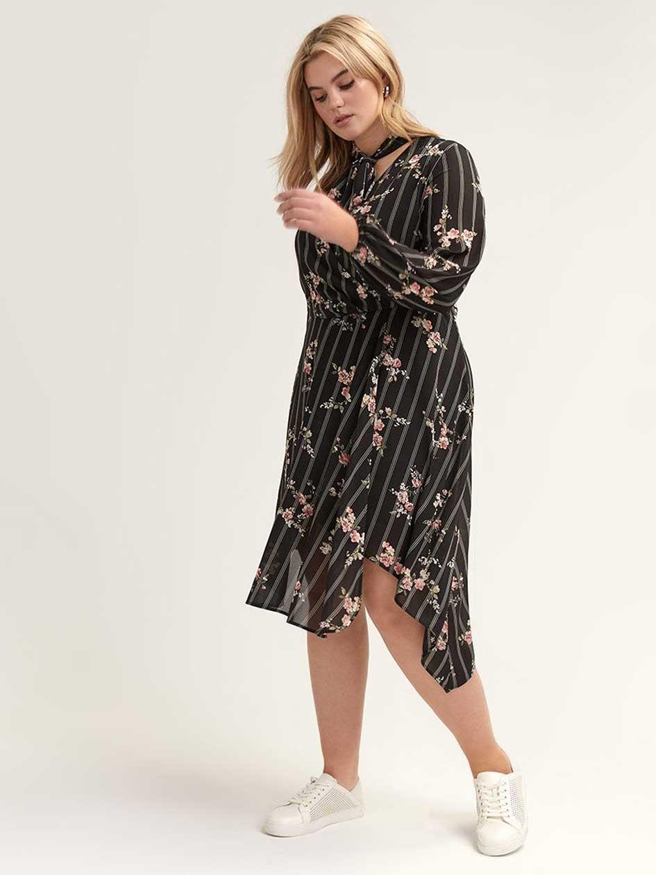 cfe2810f8 Floral Faux-Wrap Dress with Asymmetrical Hem