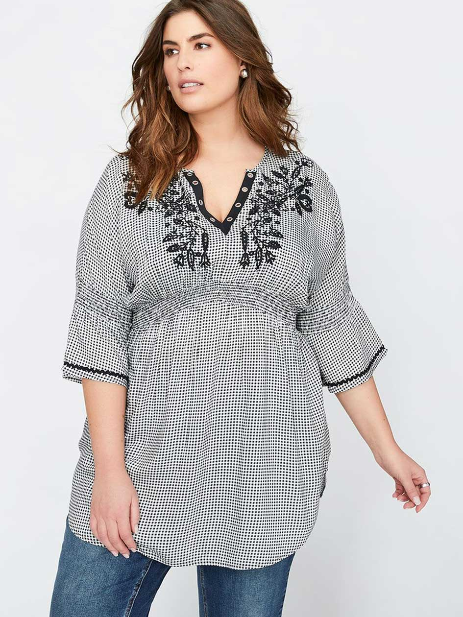 L&L Gingham Tunic with Three-Quarter Dolman Frill Sleeves