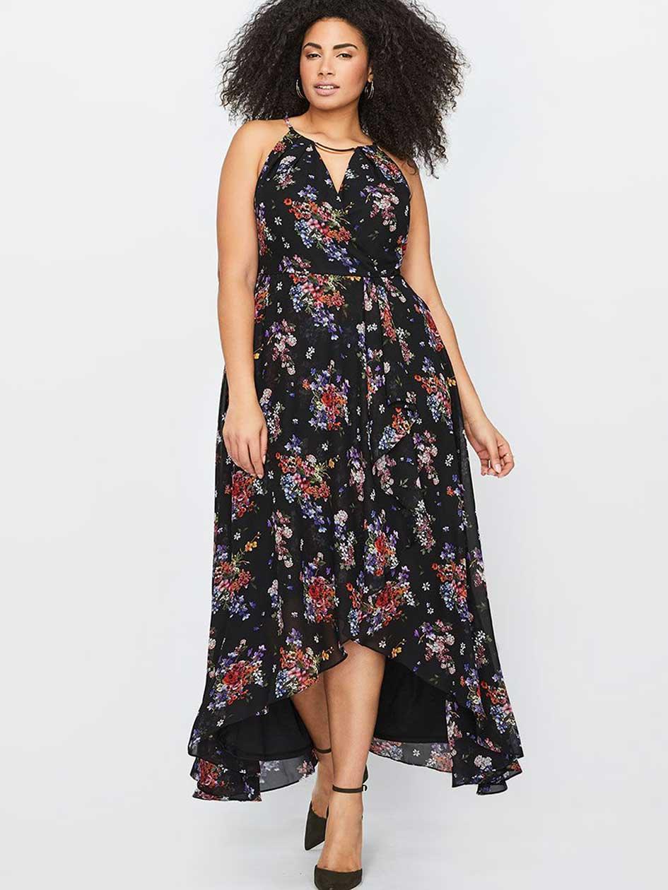 Sangria Sleeveless Printed Maxi Wrap Dress