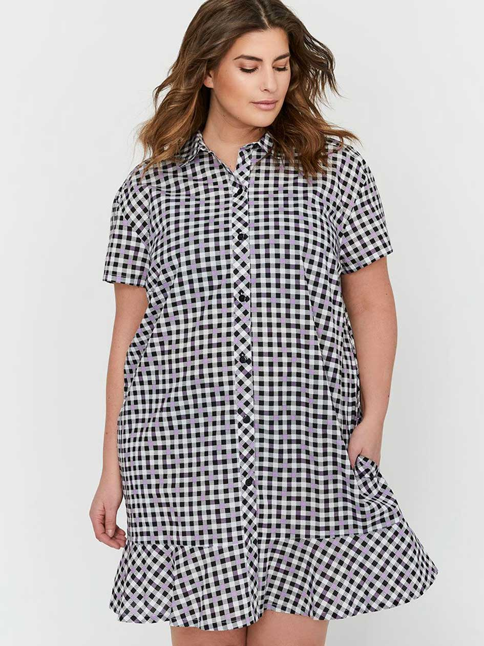 Déesse Collection - Short Sleeve Buttoned-Down Plaid Sleepshirt