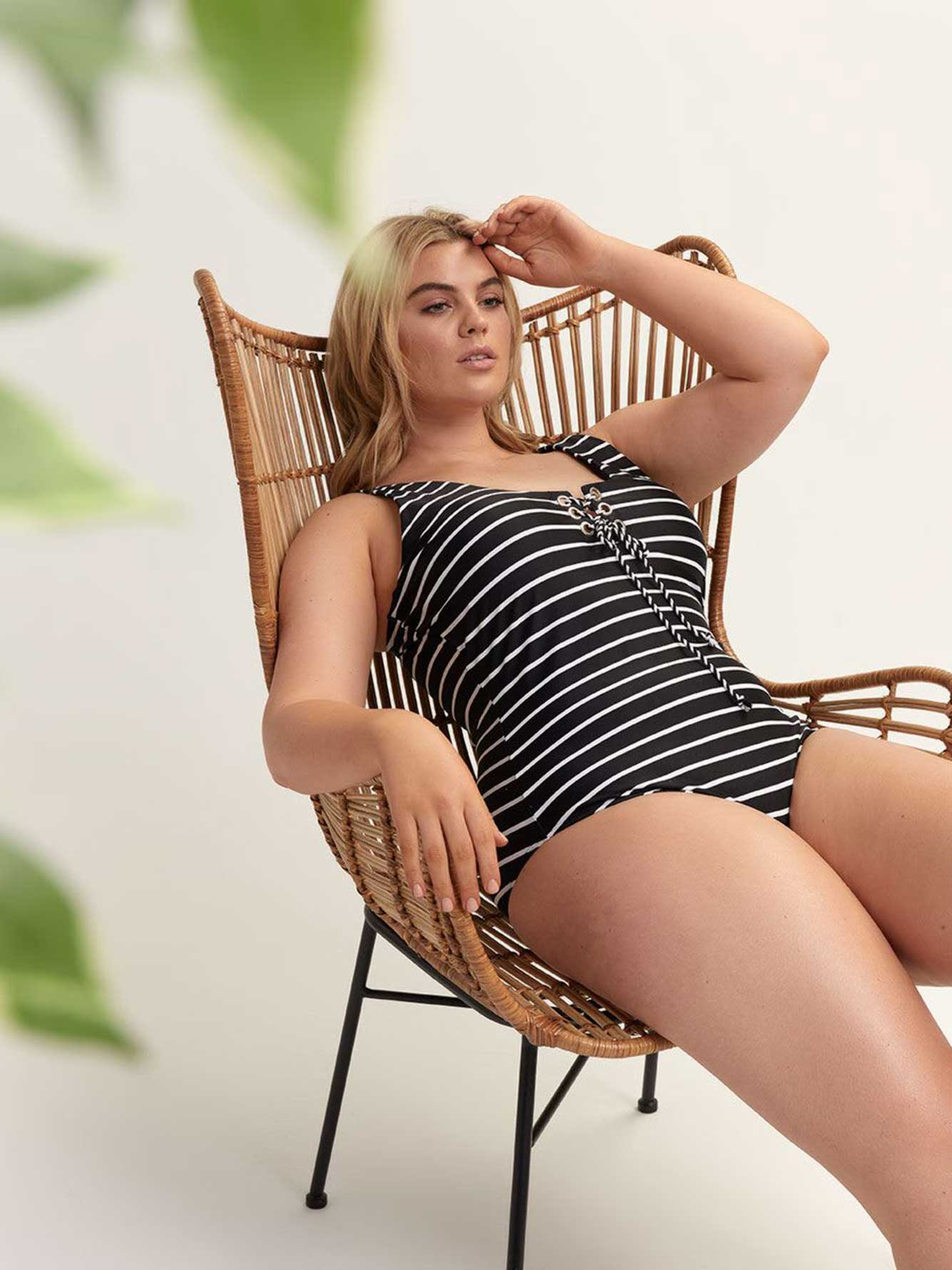 Striped One-Piece Bathing Suit - Cactus