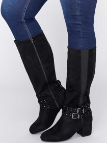 Block Heel Boot with Stud Detailed Straps - Sydney