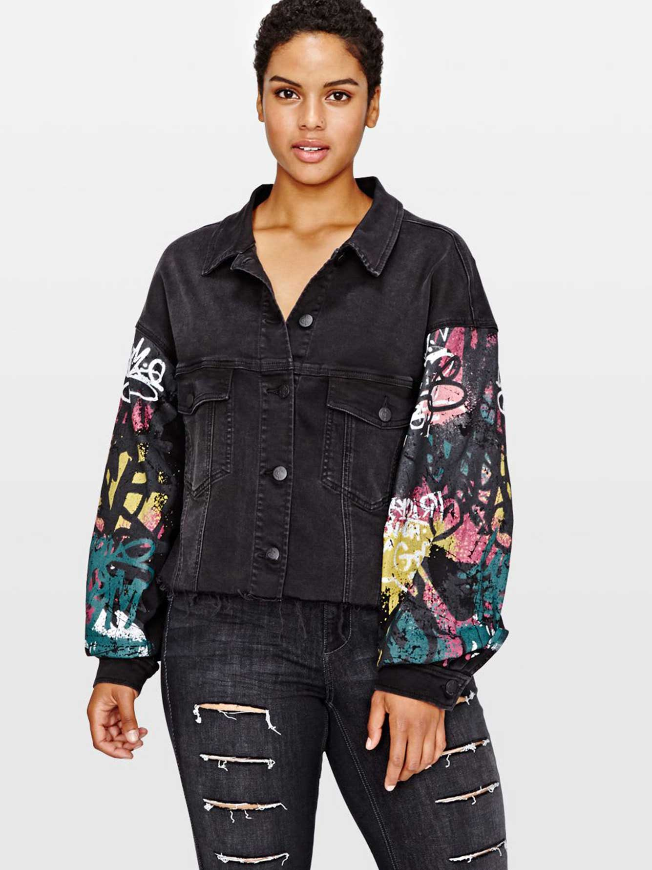 L&L Cropped Denim Jacket with Graffiti Print | Addition Elle