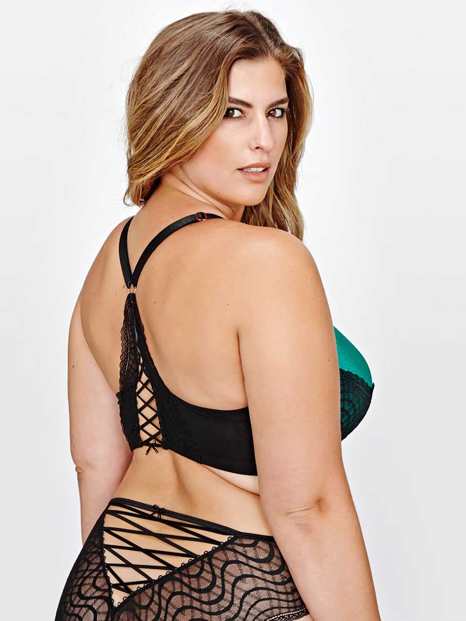 Ashley Graham Front Lace & Lace-Up Back Icon Bra