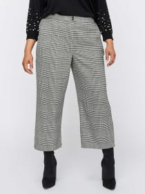 Wide Leg Checkered Cropped Pant - Michel Studio