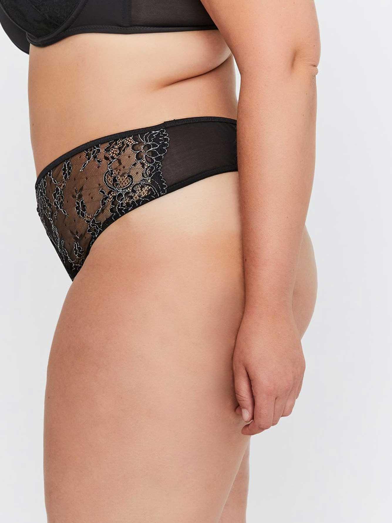 5a115136c91b55 Ashley Graham Essentials Lace & Striped Thong | Addition Elle