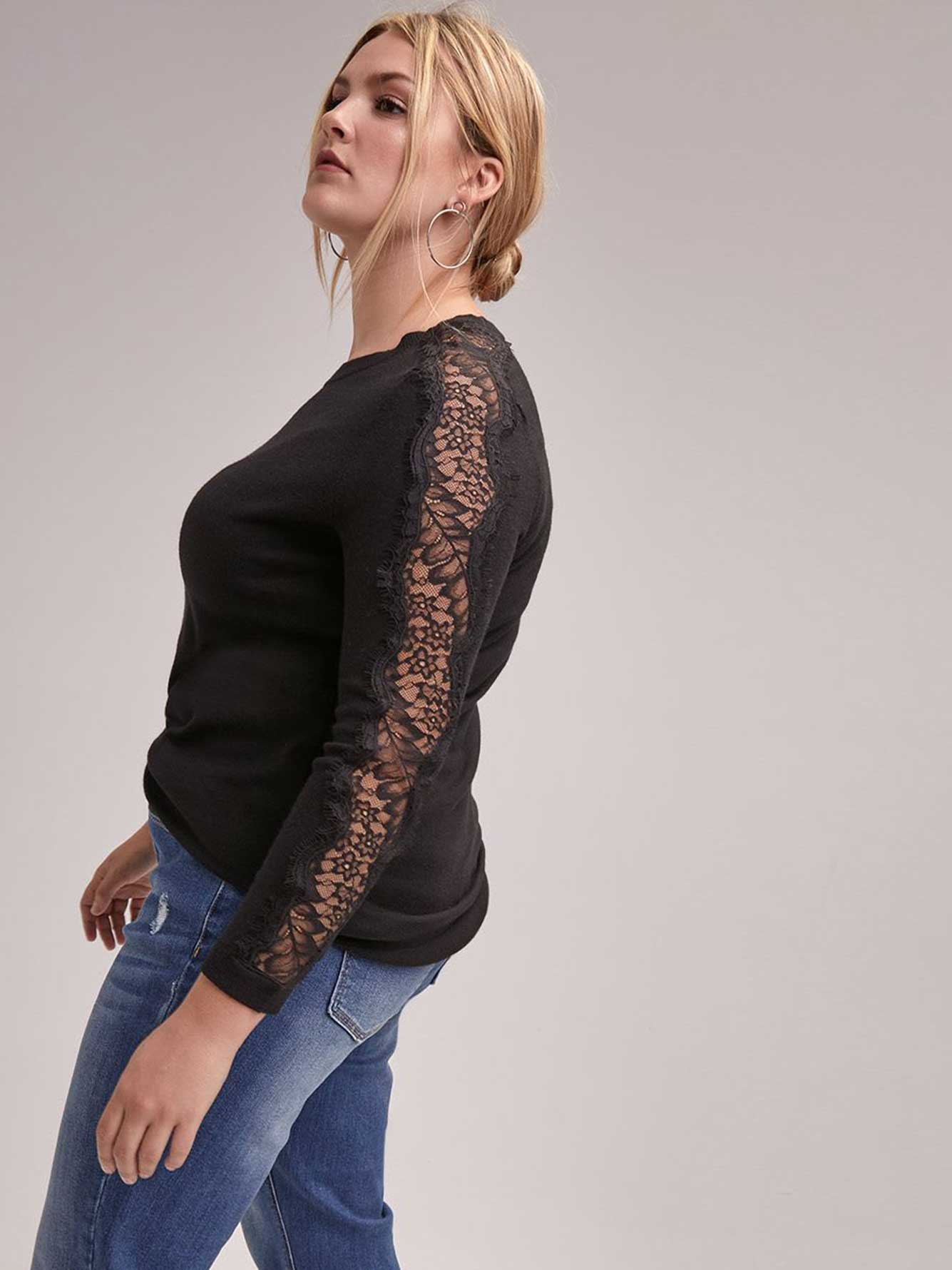 57be9b2fab2 Long Sleeve Crew-Neck Sweater with Lace Details - Michel Studio ...