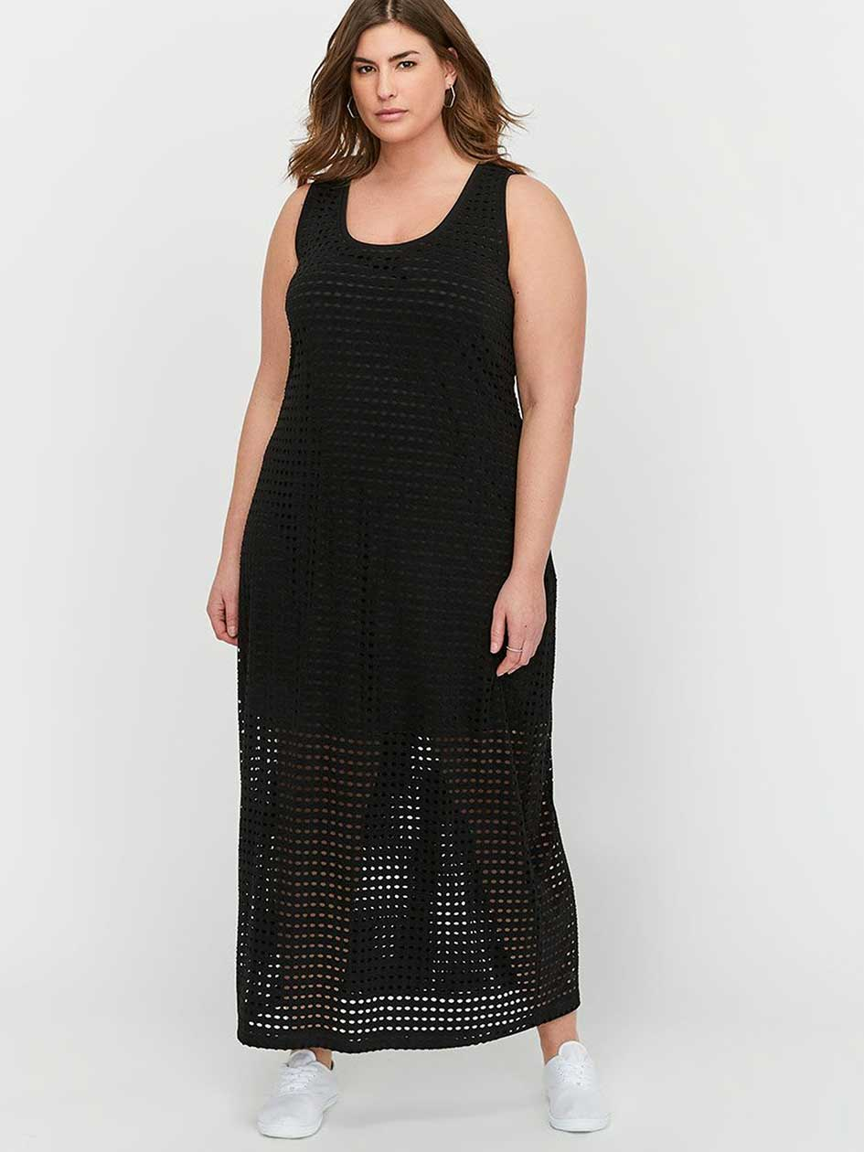 L&L Maxi Tank Dress with Mesh Bottom.Black.4X 30840077