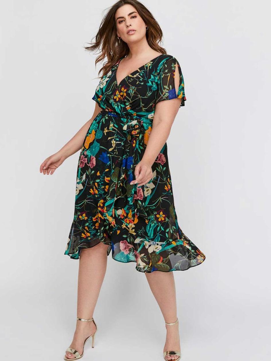 Michel Studio Chiffon Flutter Wrap Party Dress