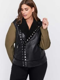 Snap Button Closure Biker Jacket - RACHEL Rachel Roy