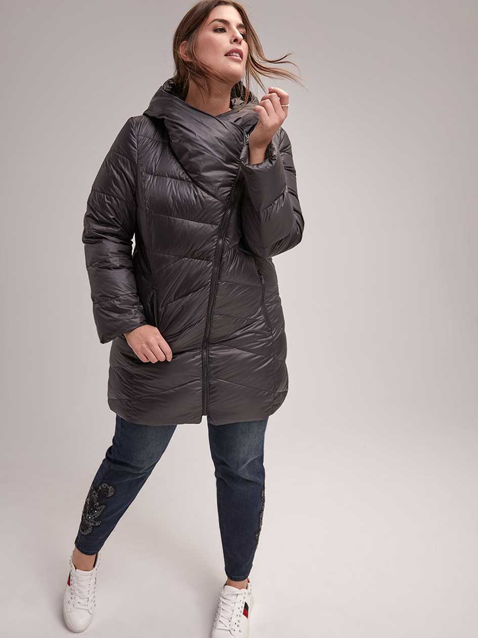 Packable Down Coat with Asymmetrical Collar - LIVIK