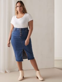 Denim Pencil Skirt with Exposed Button-Fly - Lost Ink