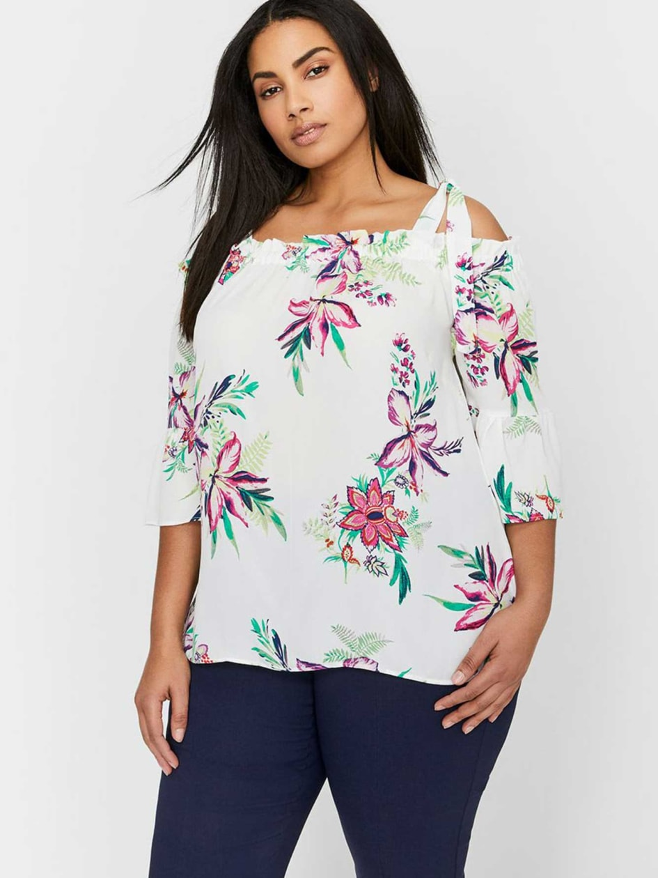 Michel Studio Off-the-Shoulder Blouse with Ruffles
