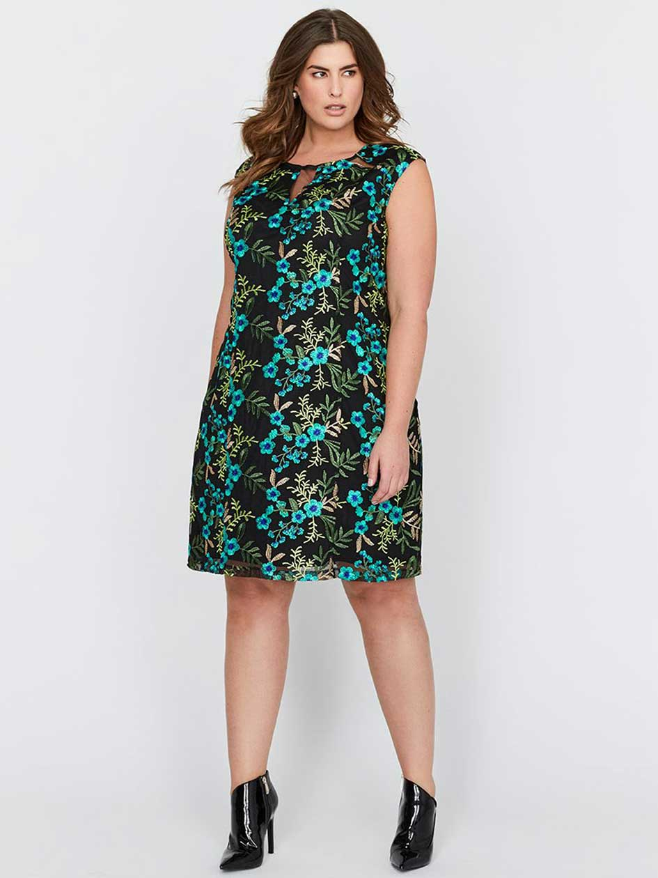 Michel Studio, Sleeveless, Fit & Flare Embroidered Dress