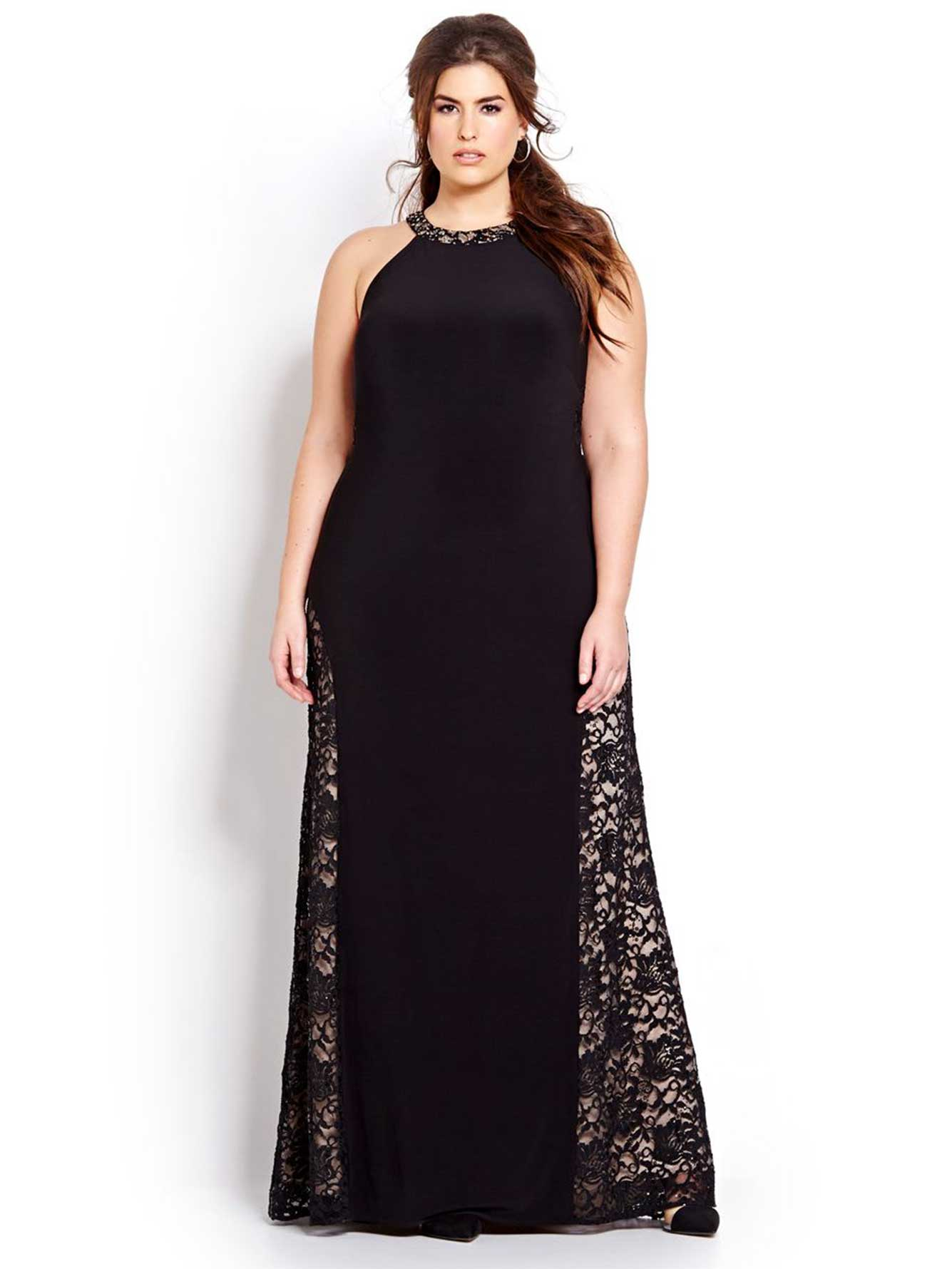 longue robe de bal licou et dos en dentelle addition elle. Black Bedroom Furniture Sets. Home Design Ideas