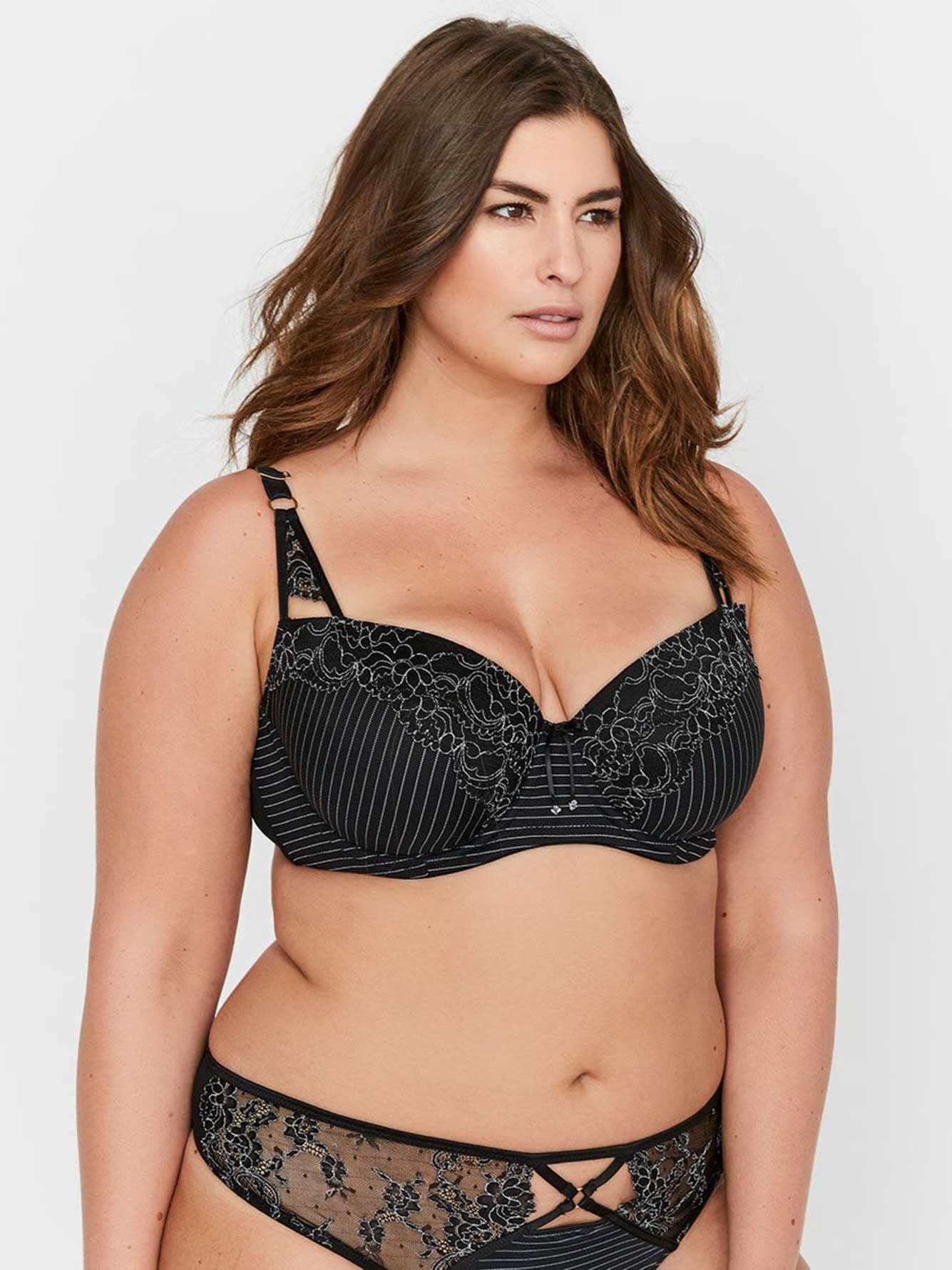 2073e076d Ashley Graham Essentials Lace and Striped Showstopper Bra | Addition Elle