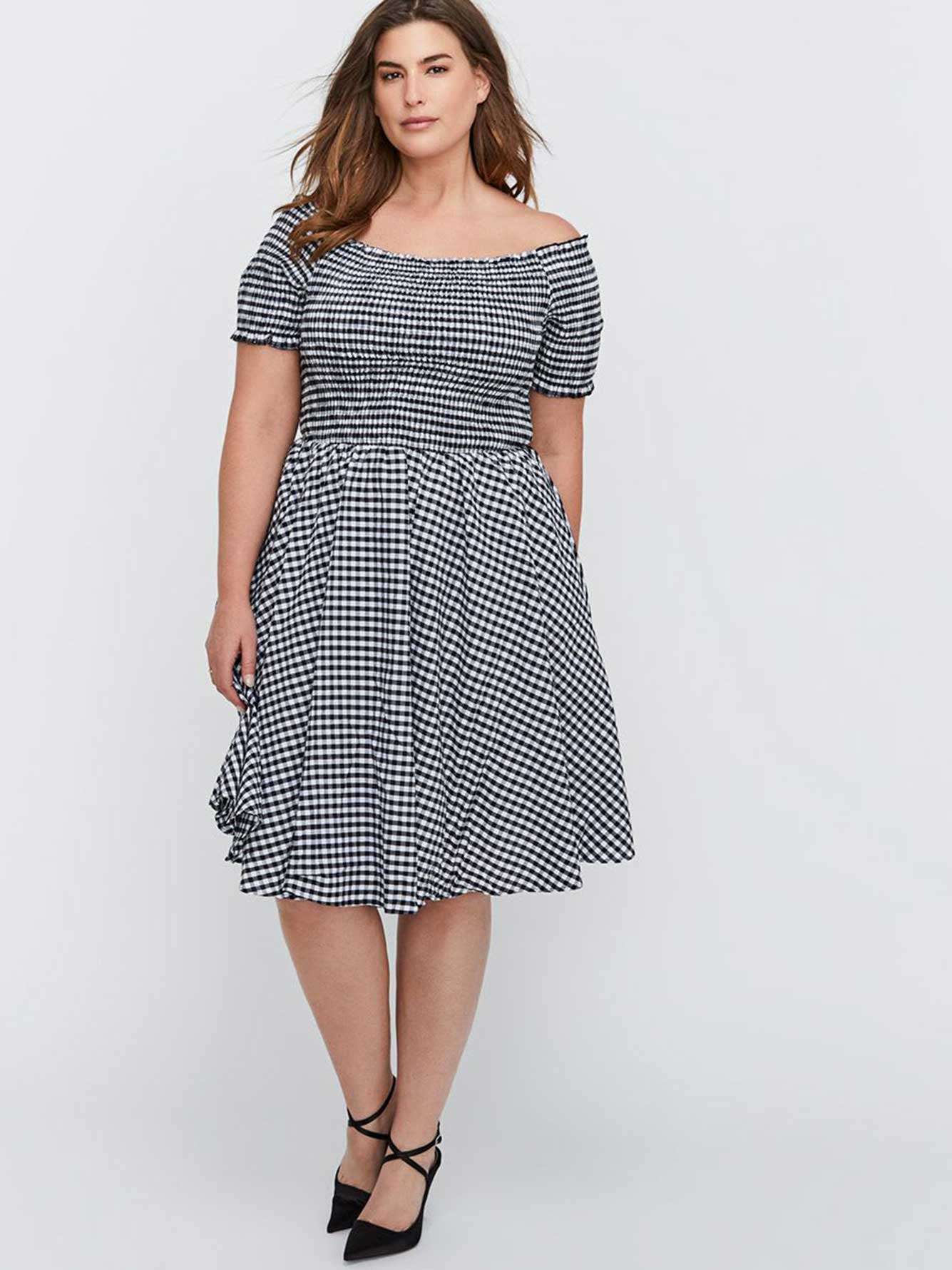 33e3e031eaaa City Chic Fit   Flare Gingham Print Off-the-Shoulder Dress with Smocked Top