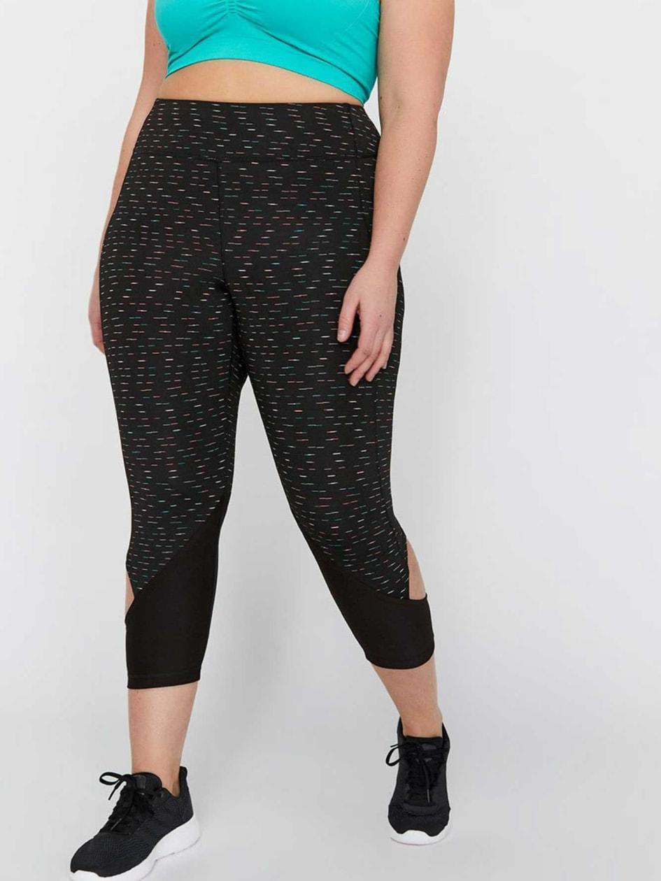 Nola Side Cutout Capri Legging.Black Multi.4X 30639903
