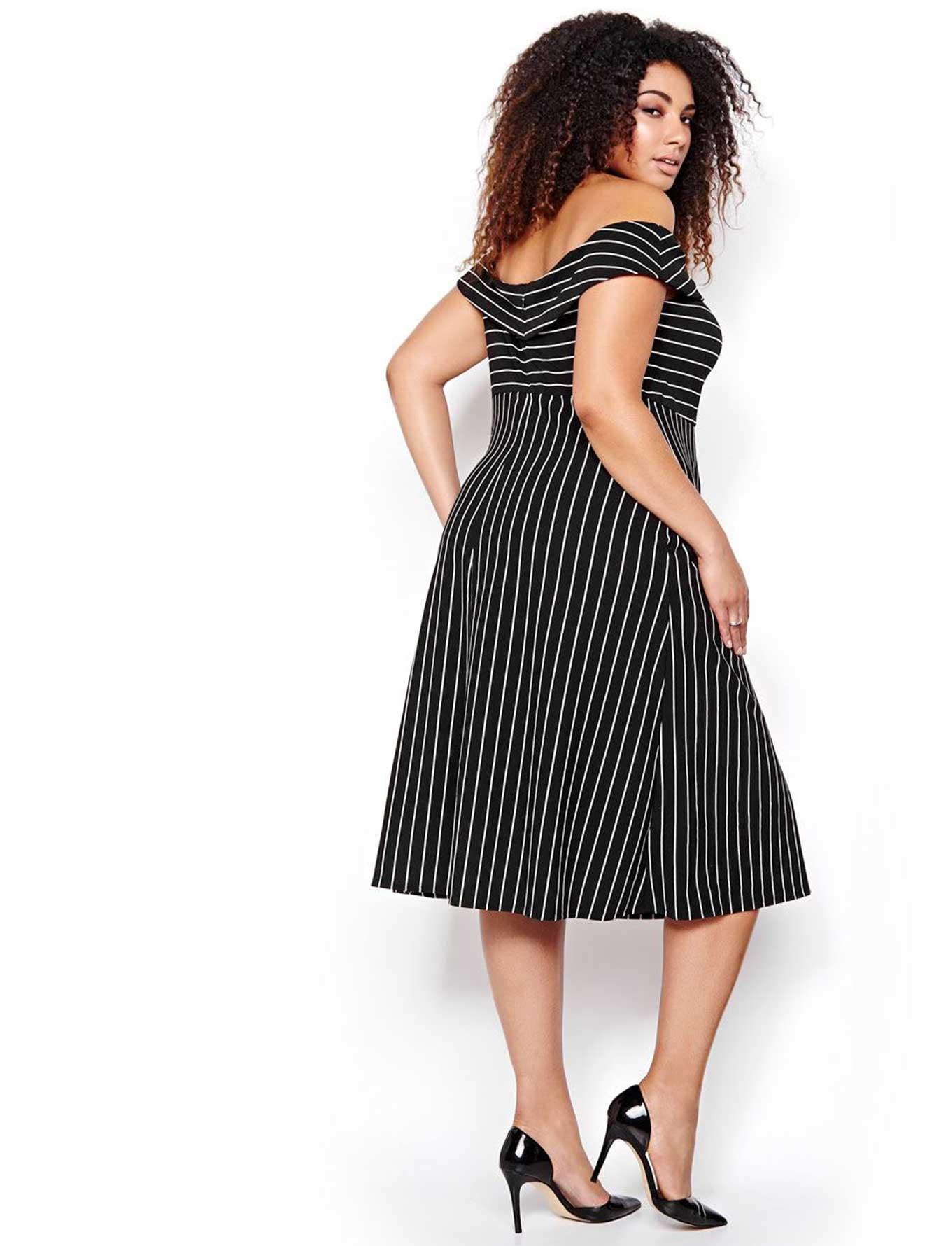 ABS Striped Off-Shoulder Midi Dress | Addition Elle