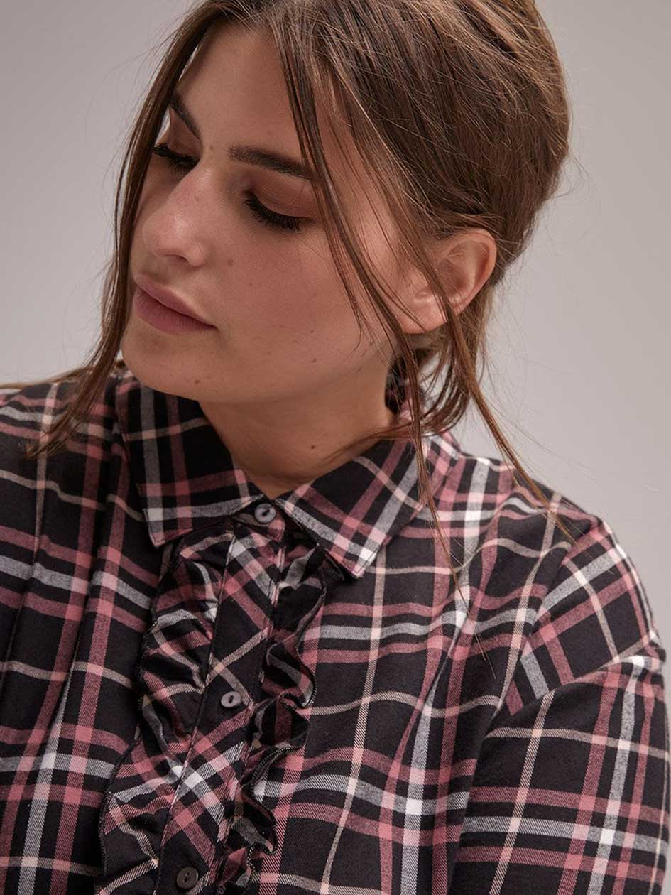 Plaid Flannel Sleep-Shirt - Déesse Collection