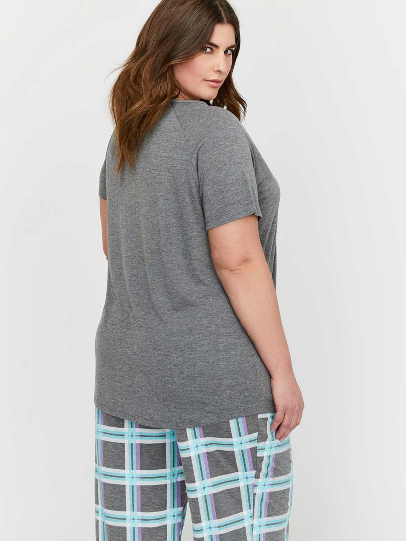 haut de pyjama avec imprim manches courtes collection d esse addition elle. Black Bedroom Furniture Sets. Home Design Ideas