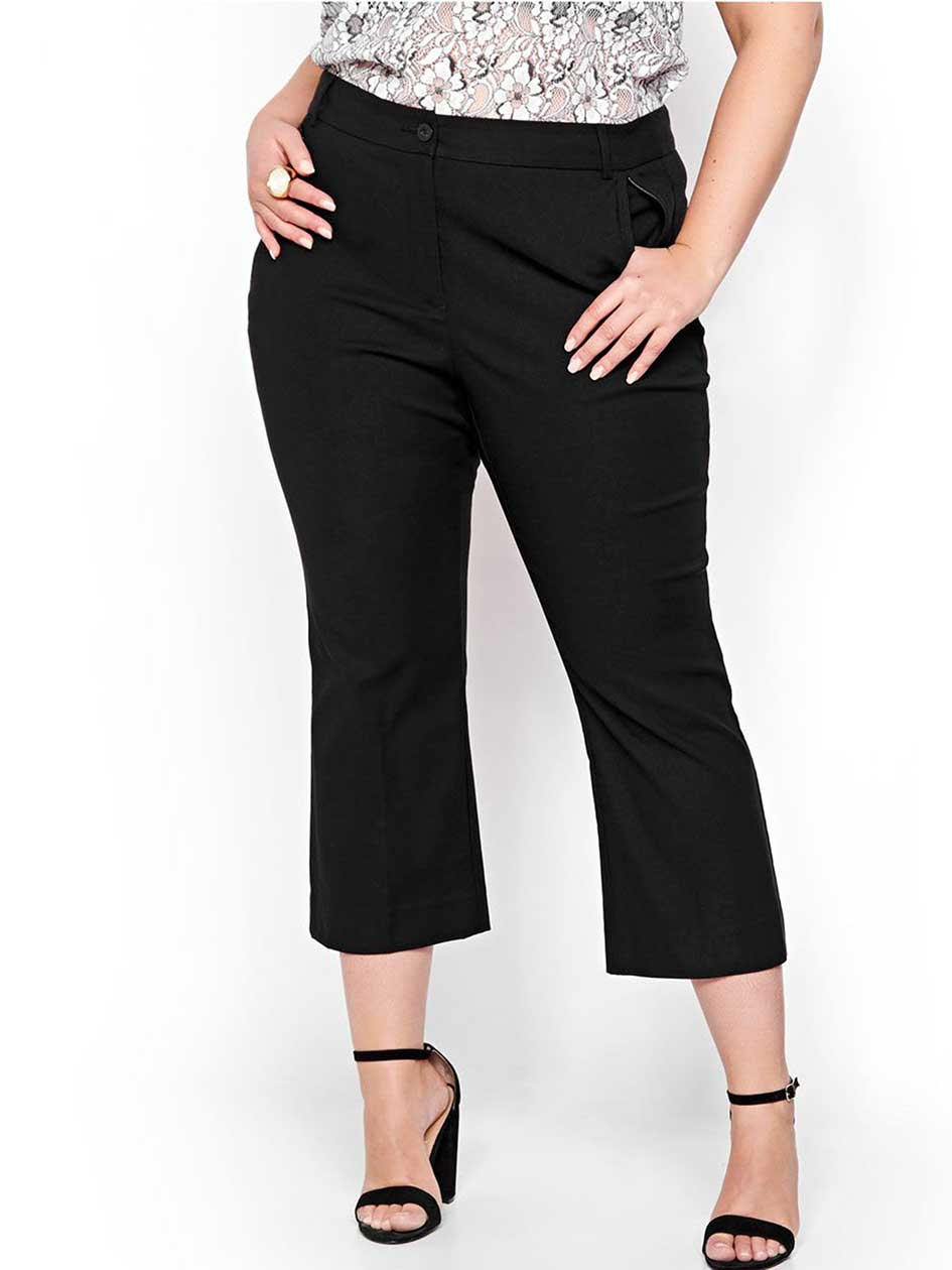 Michel Studio Kick Crop Flare Pant with Detailed Pockets