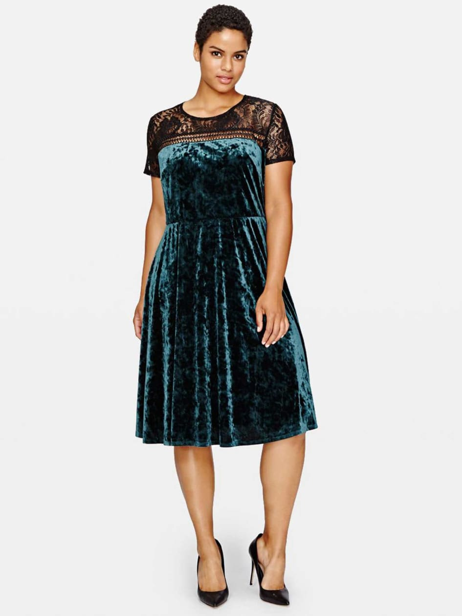 Plus Size Vintage Dresses, Plus Size Retro Dresses Sangria Crushed Velvet Dress with Lace $150.00 AT vintagedancer.com