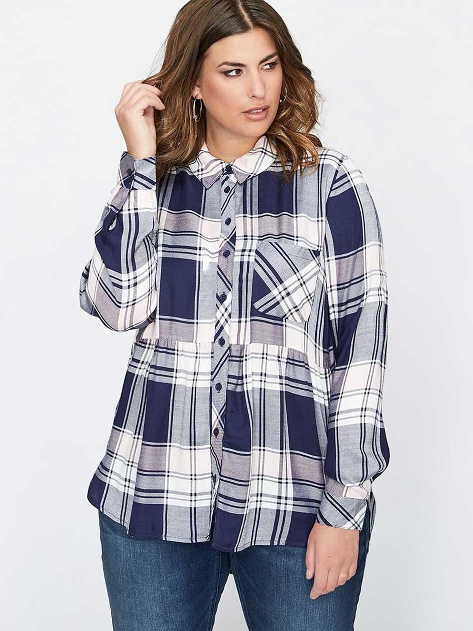 L&L Long Sleeve Babydoll Plaid Shirt