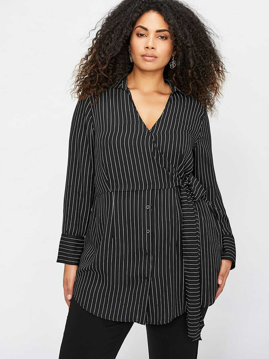 Michel Studio Striped Wrap Tunic