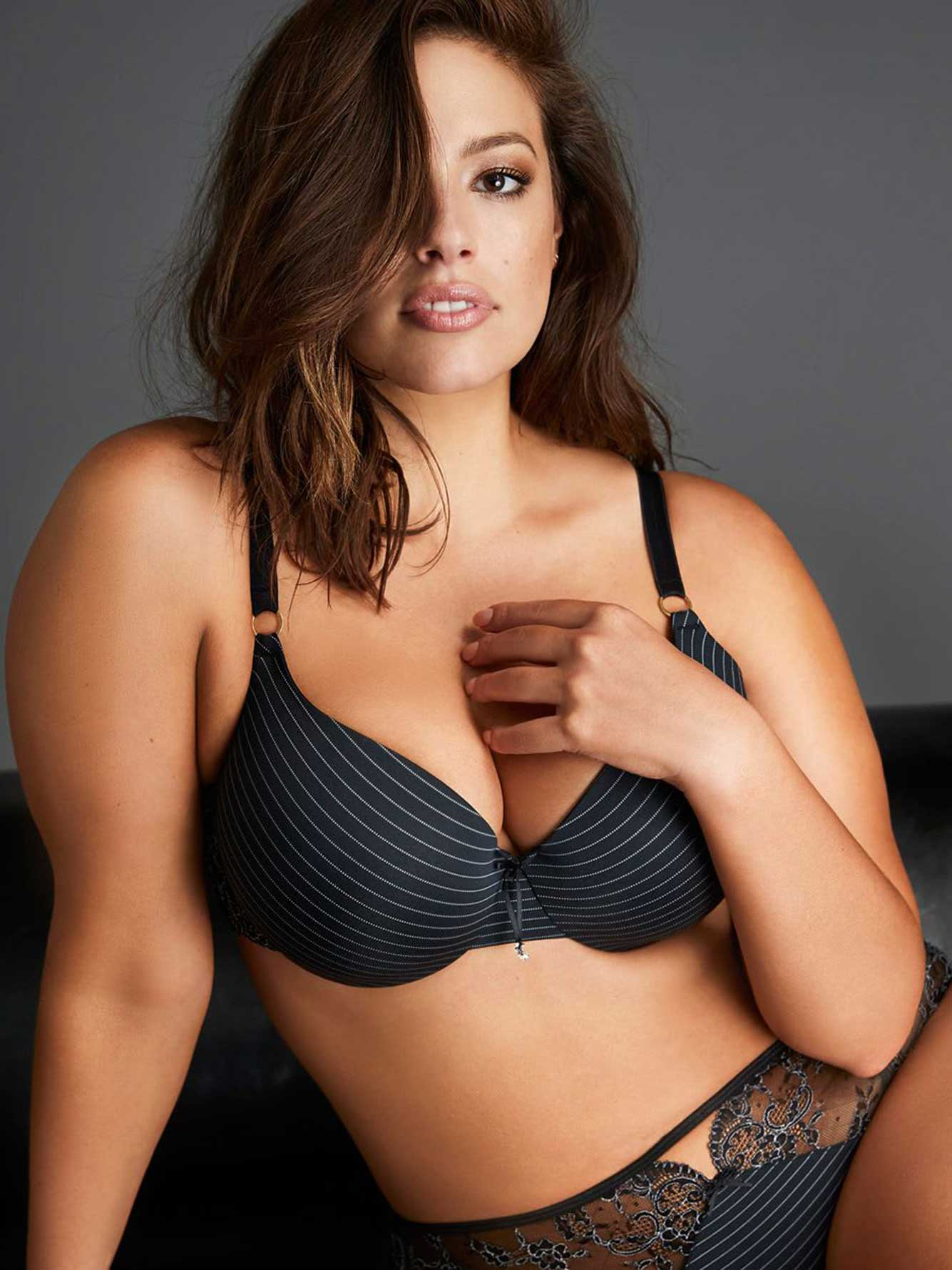 9c1bcc9ed22aa Ashley Graham Essentials High Cut Lace and Striped Panty