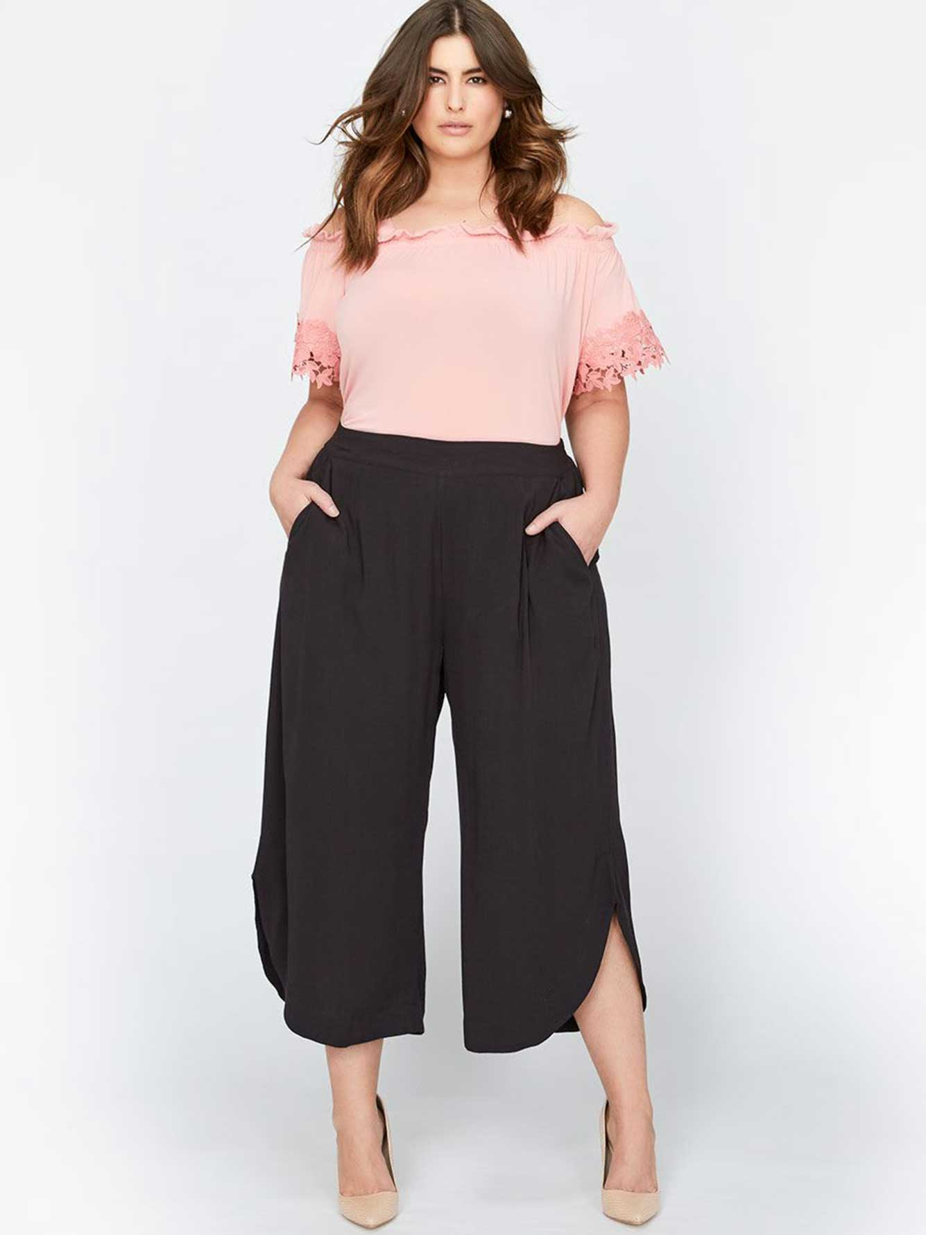 0a24f6b2923d6 Michel Studio Wide-Leg Cropped Pants with Tulip Hem