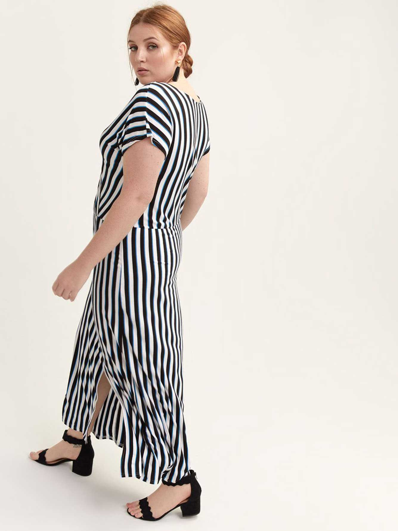 Faux-Wrap Striped Maxi Dress - Michel Studio