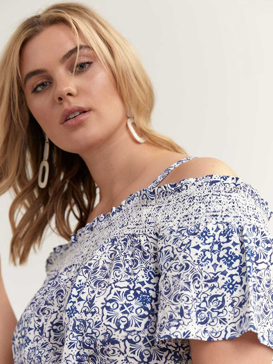 Cold Shoulder Printed Peasant Top - Michel Studio