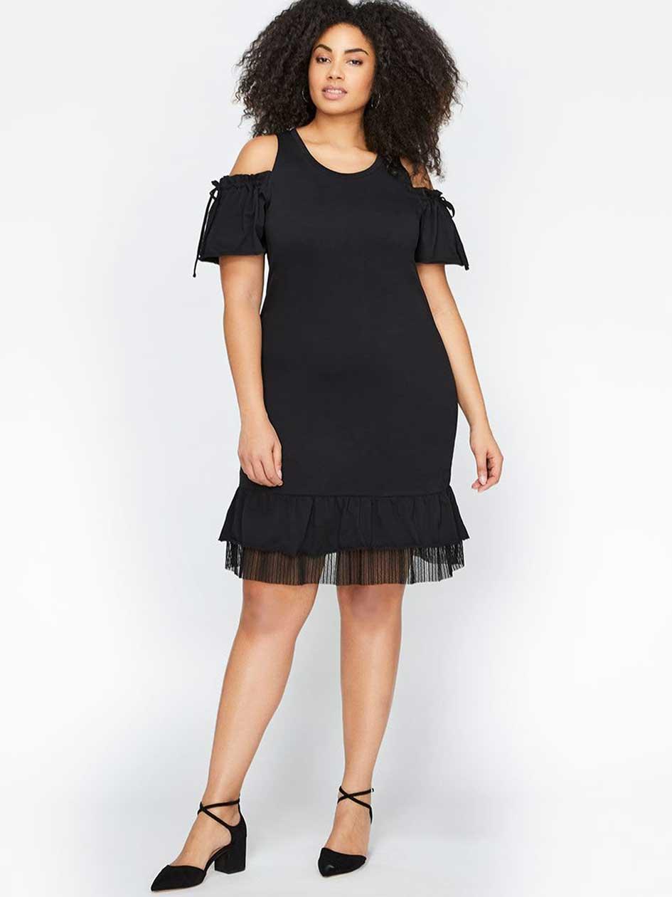 L&L Short Sleeve Cold Shoulder Jersey Dress