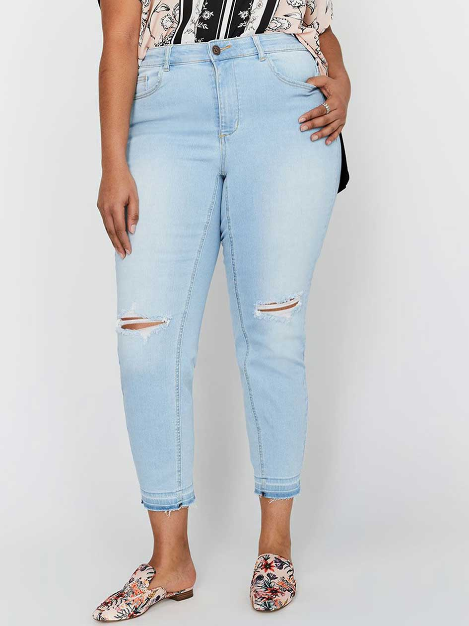 L&L Authentic Skinny Curvy Jeans with Rips & Release Hem