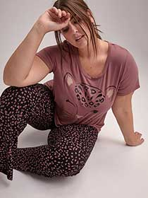 Scoop Neck Graphic Pajama T-Shirt - Déesse Collection