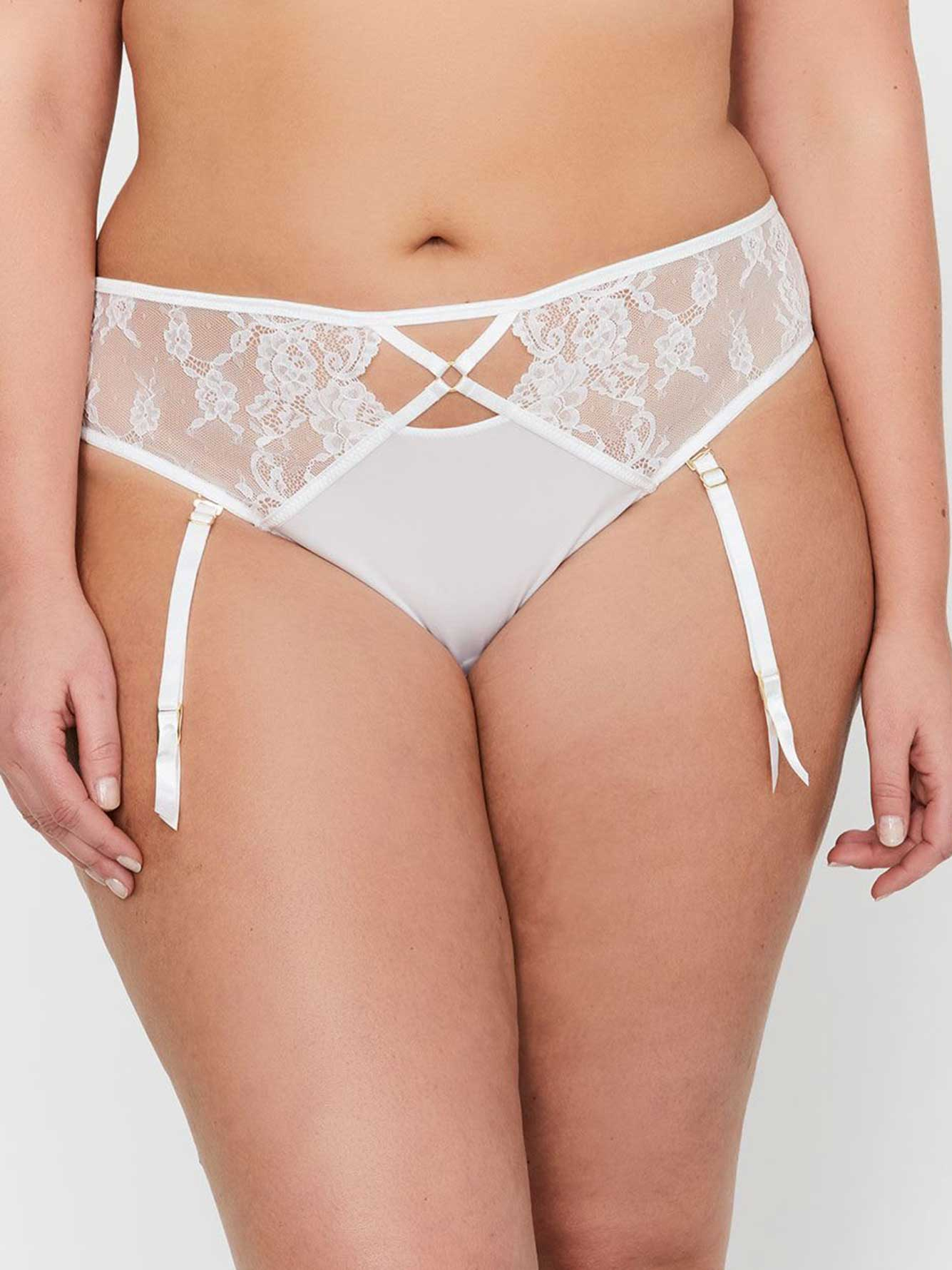Ashley Graham Thin Micro Thong with Side Lace Inserts & Removable Garters