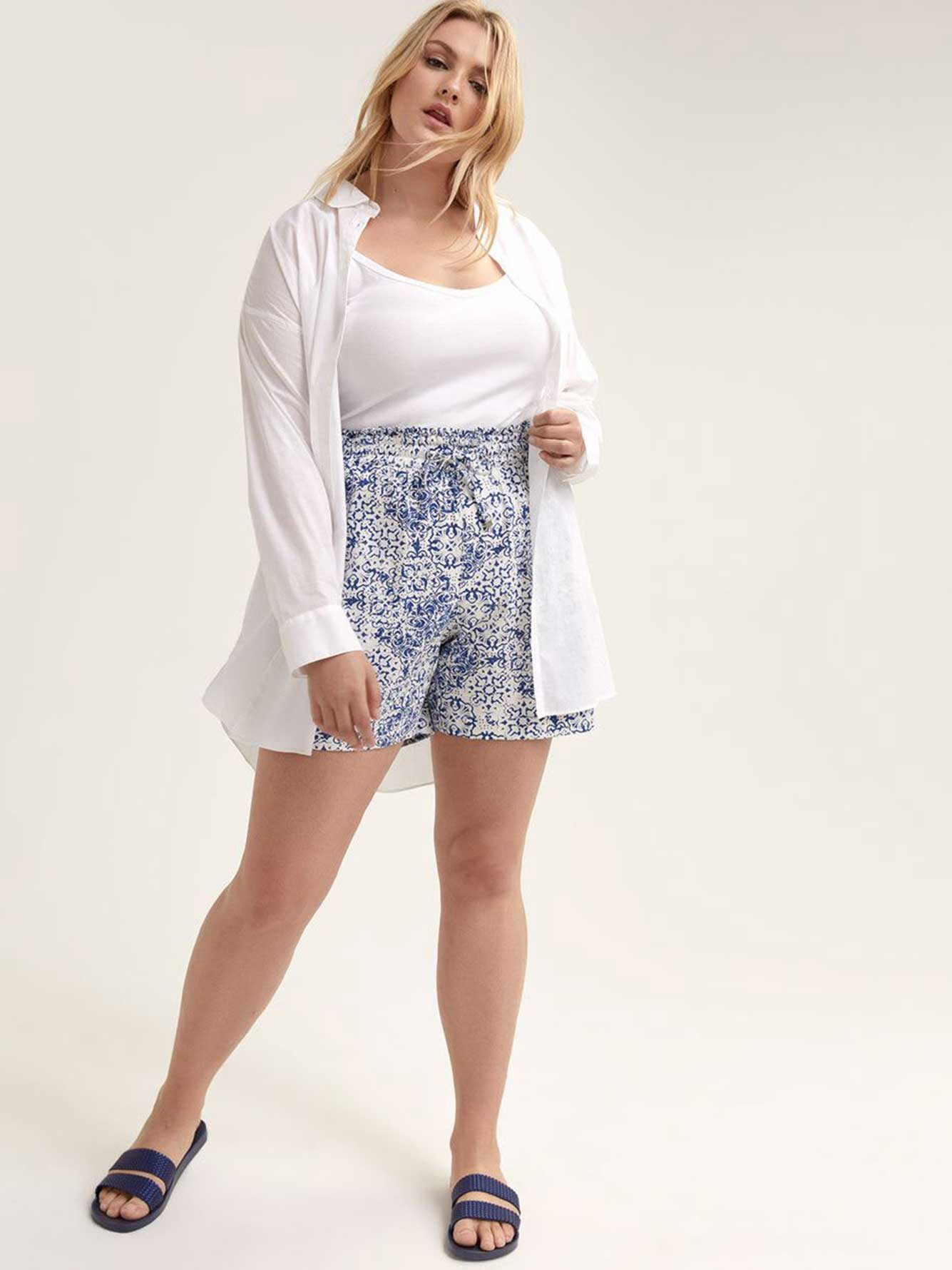Printed Linen Shorts - Michel Studio