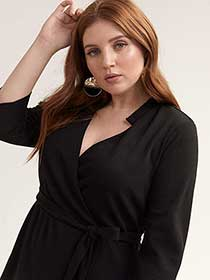 Black Fit & Flare Faux Wrap Dress - Michel Studio