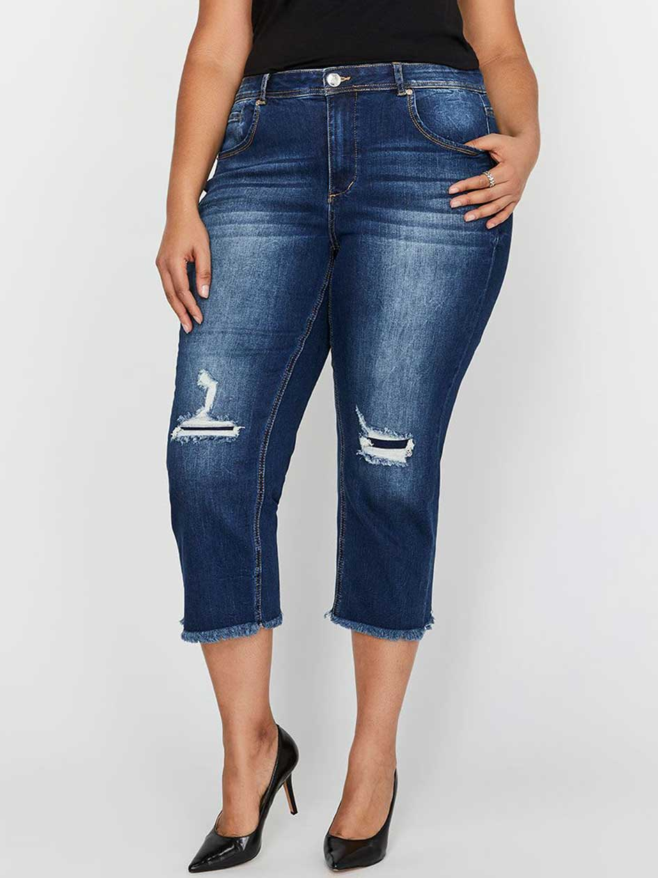 L&L Authentic Relaxed Slim Cropped Jeans with Rip & Repair