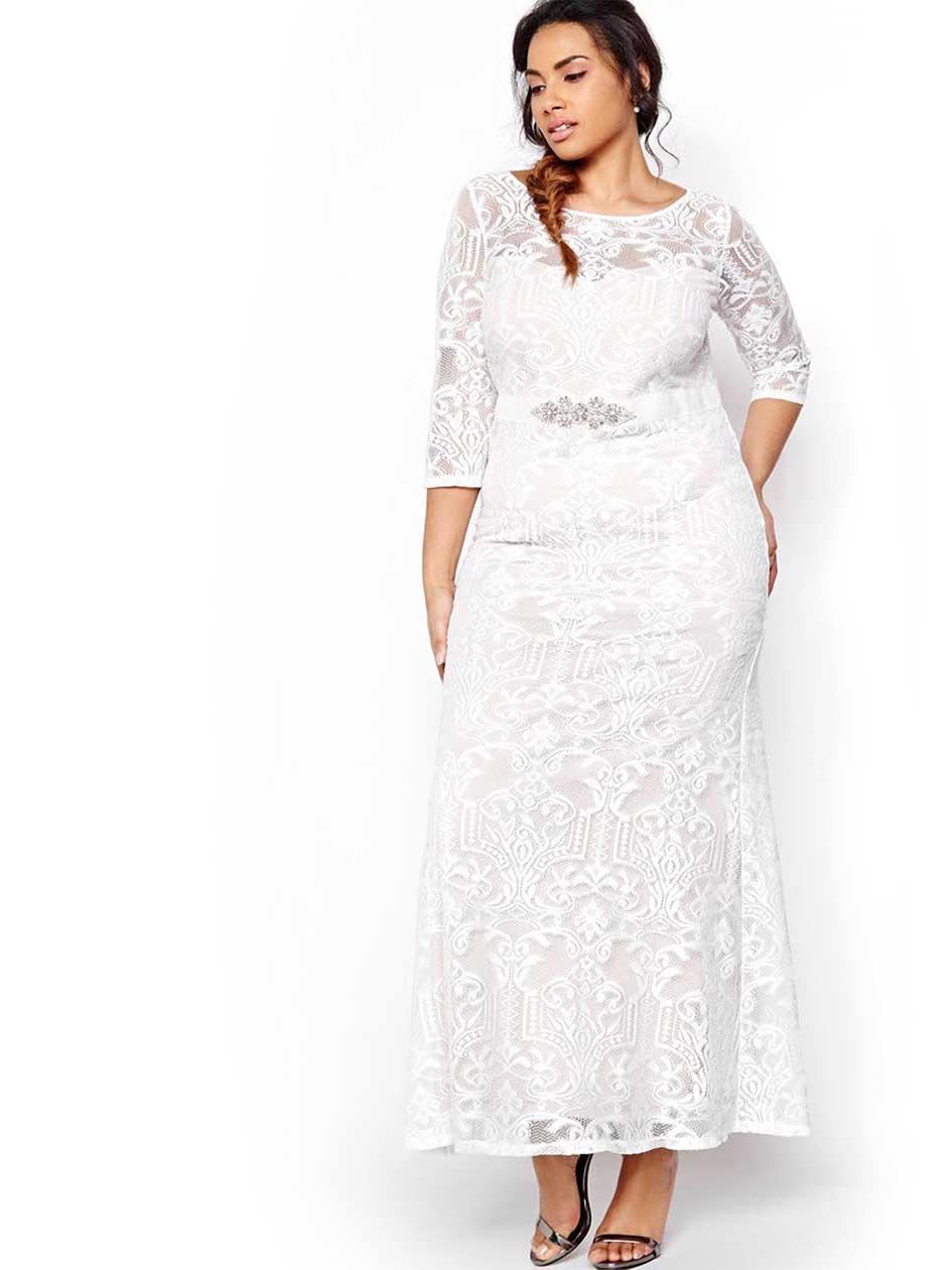 Vintage Inspired Wedding Dresses Belted Lace Wedding Dress $240.00 AT vintagedancer.com