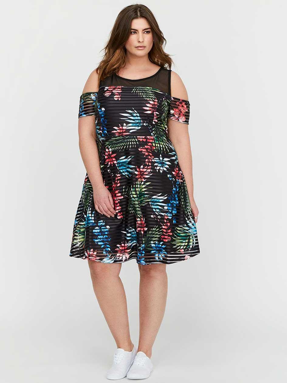 Michel Studio Fit & Flare Cold Shoulder Printed Dress
