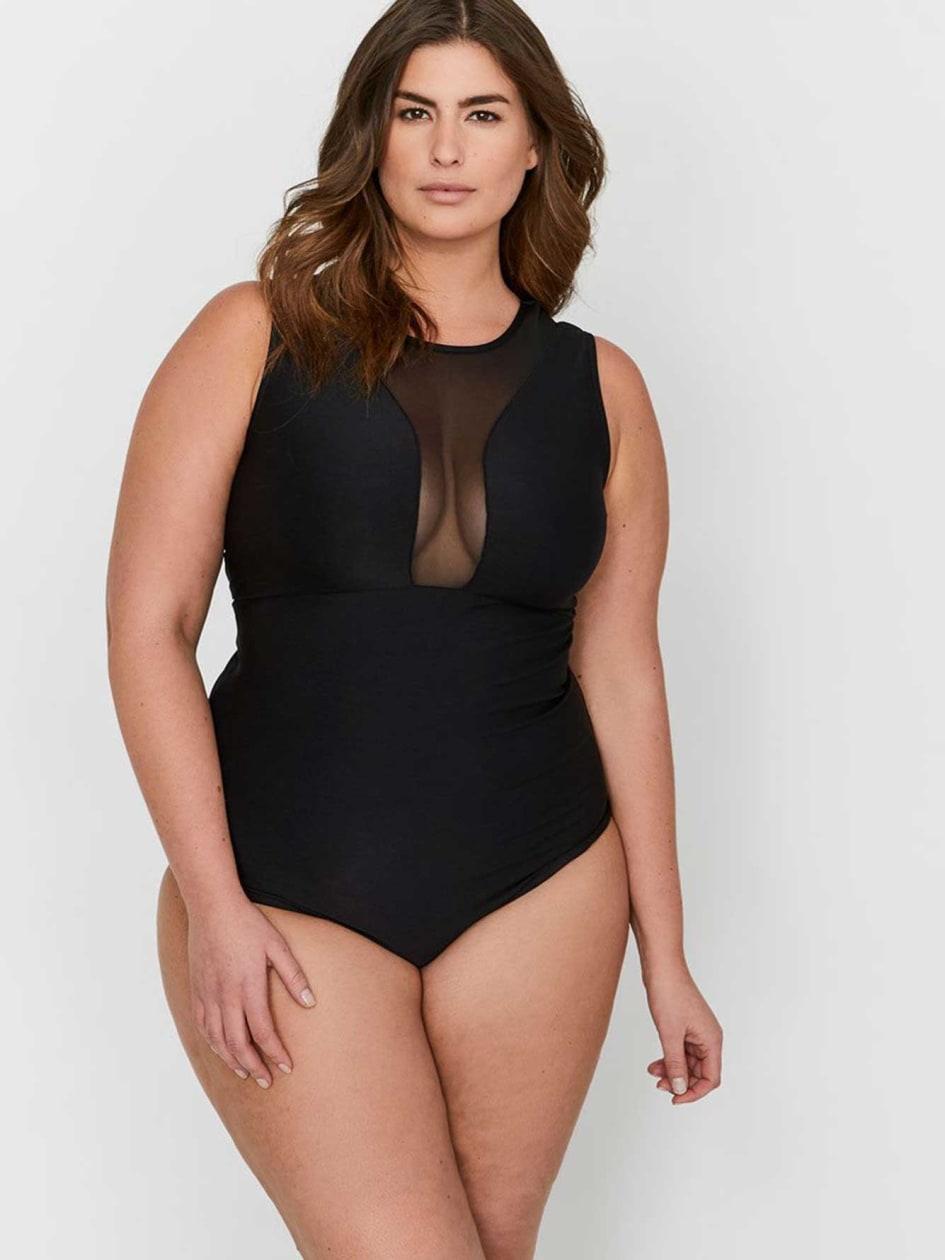 L&L X Jordyn Woods Mixed Fabric Sleeveless Bodysuit