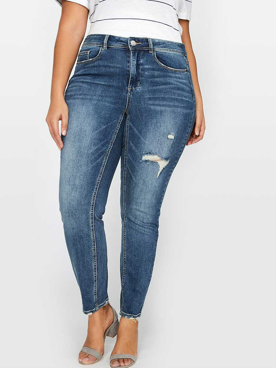 L&L Slightly Frayed Authentic Skinny Ankle Jean, Tall
