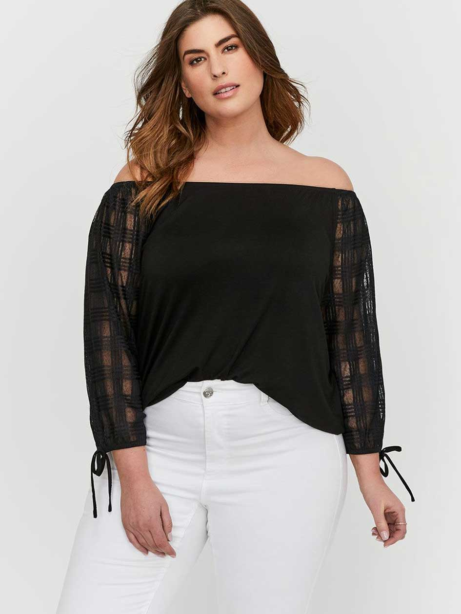 Michel Studio Loose Fit Top with Three-Quarter Mesh Sleeves